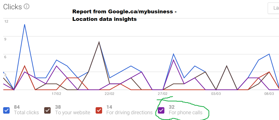 Google Insights shows phone calls to business