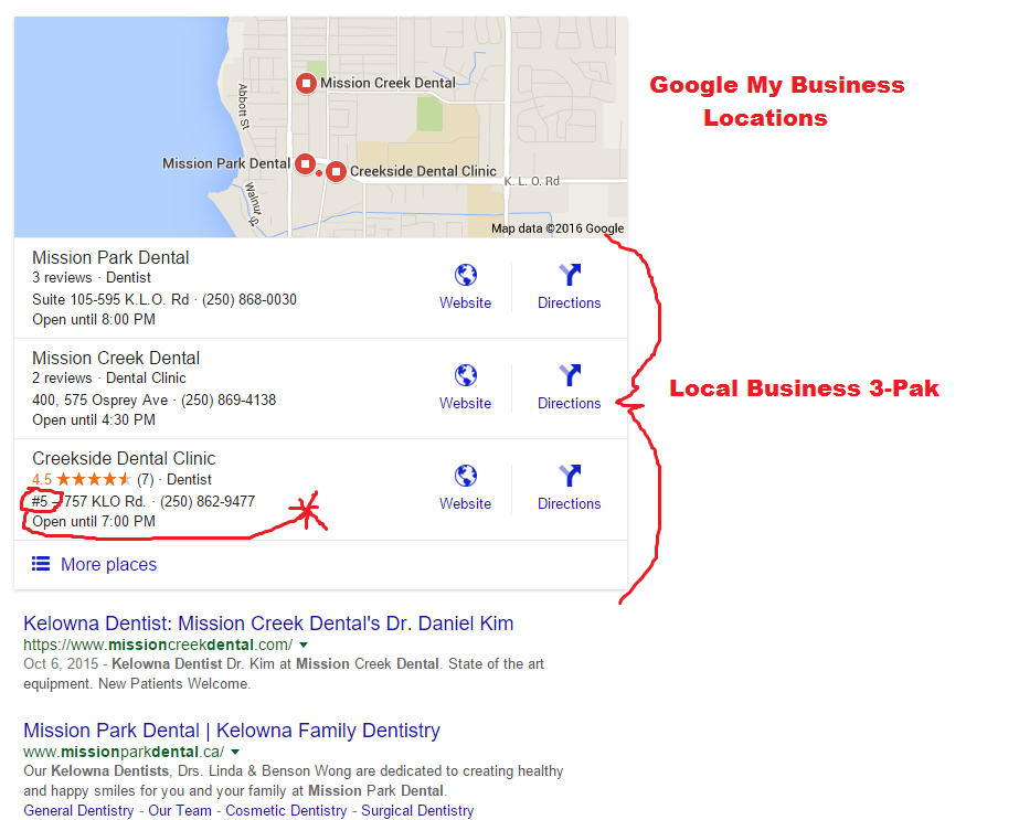 image of Local Business listings on the top of a Search Results Page.