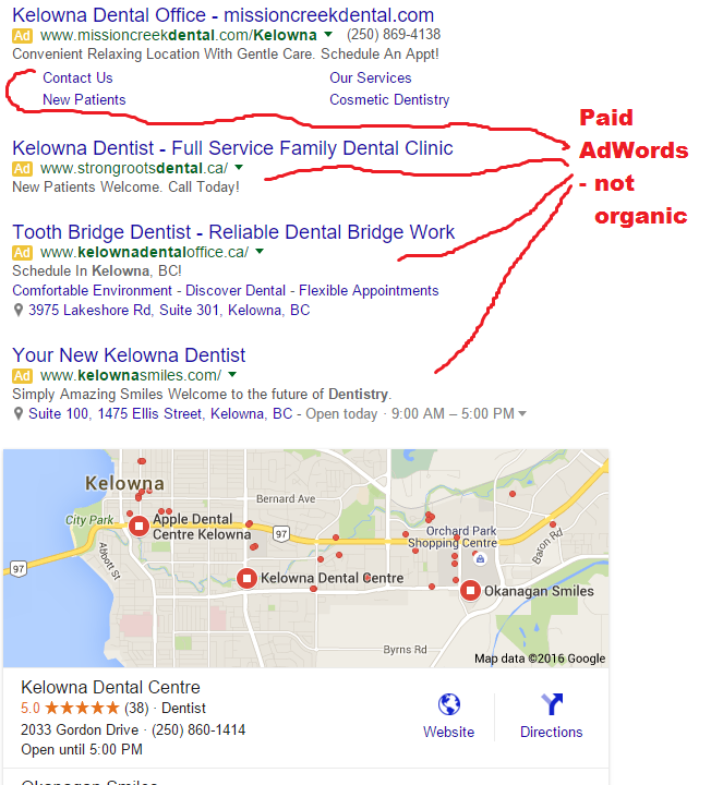 Image of Google AdWords Results to clear confusion about organic results.